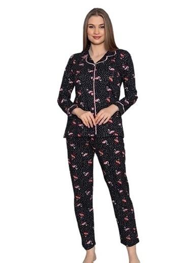 Elif İç Giyim Kadın Flamingo Desenli Önden Düğmeli Uzun Kol Pijama Takımı Siyah